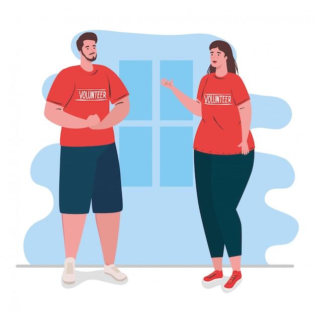 Pareja de voluntarios con camisa roja, caridad y concepto de donación de asistencia social