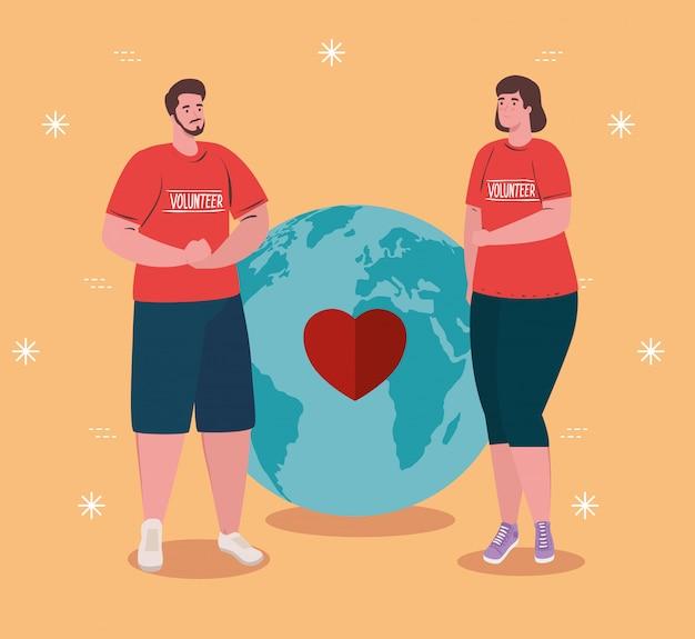 Pareja de voluntarios con camisa roja con concepto de donación de planeta y corazón mundial, caridad y asistencia social