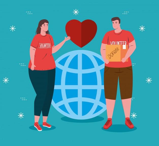 Pareja de voluntarios con camisa roja con esfera y corazón, concepto de donación de caridad y asistencia social