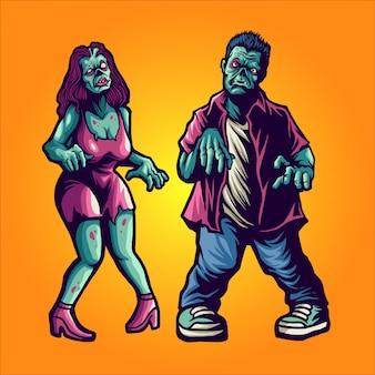 Pareja zombie en ilustración de halloween