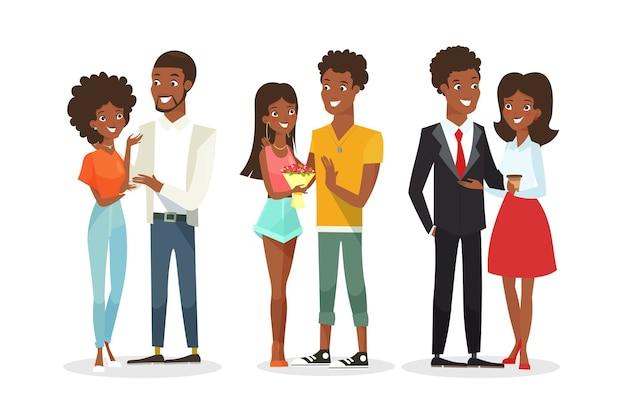Parejas afroamericanas en la cita. parejas jóvenes, familia. hombre guapo y mujer bonita