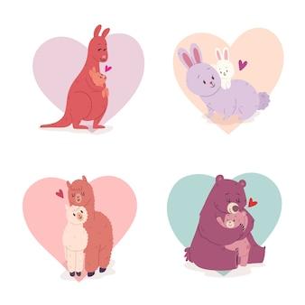 Parejas de animales con fondo de corazón