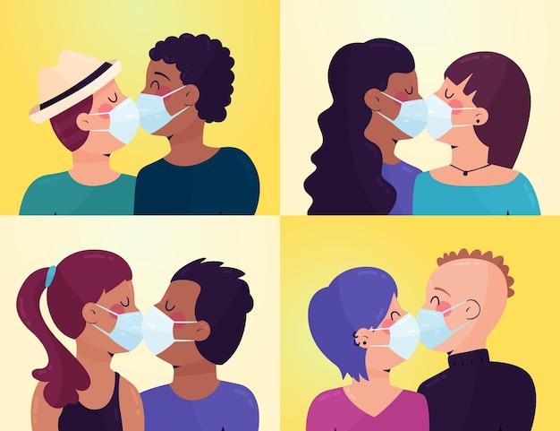 Parejas besándose con ilustración de máscara de covid
