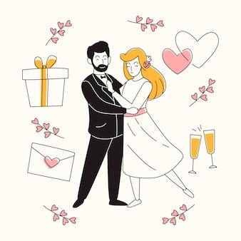 Parejas de boda dibujadas a mano con regalo y corazones