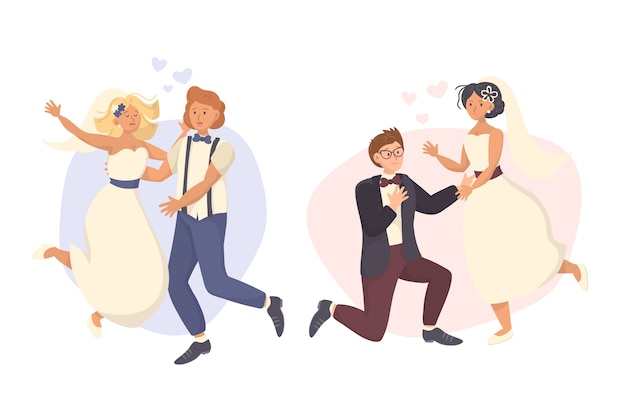 Parejas de boda dibujadas a mano con ropa moderna y corazones