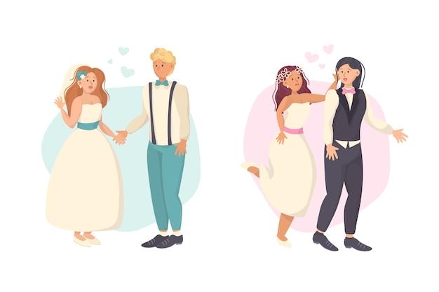 Parejas de boda dibujadas a mano con ropa moderna