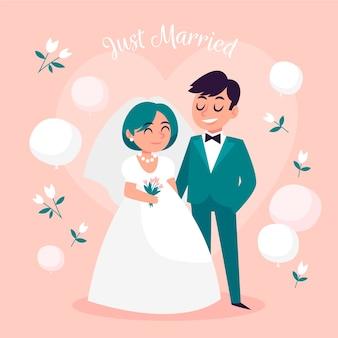 Parejas de boda dibujadas a mano