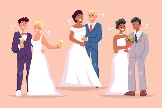 Parejas de boda en diseño plano