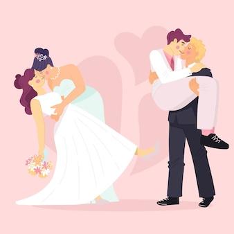 Parejas de boda de diseño plano
