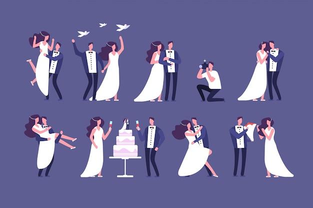 Parejas de boda novia y el novio en la ceremonia de matrimonio. conseguir personajes casados conjunto aislado de personajes