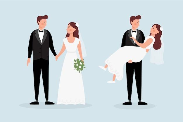 Parejas de boda con ramo dibujado a mano