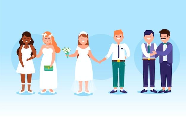 Parejas de boda con trajes elegantes