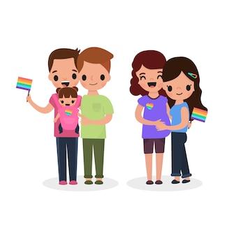 Parejas de dibujos animados celebrando el día del orgullo