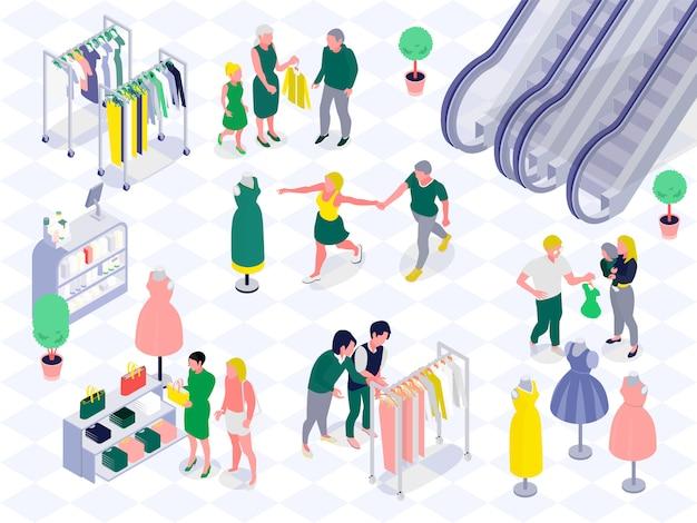 Parejas familiares con niños durante las compras en el departamento de ropa y cosméticos del centro comercial ilustración vectorial isométrica horizontal