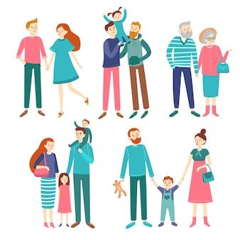 Parejas familiares. padre y madre con hijos, hermano y hermana.