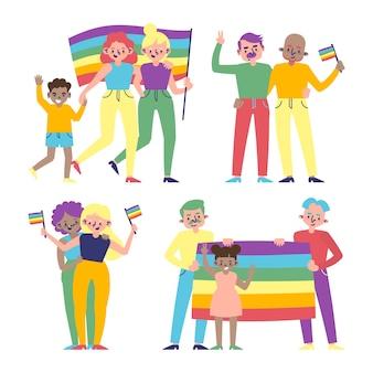 Parejas y familias celebrando el día del orgullo