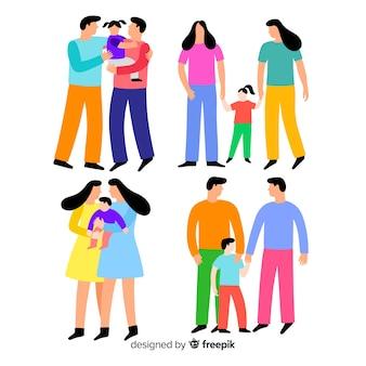 Parejas y familias del día del orgullo lgbt