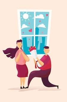 Parejas felices el hombre encantador sostiene rosas para dar a las mujeres en el festival del día de san valentín.