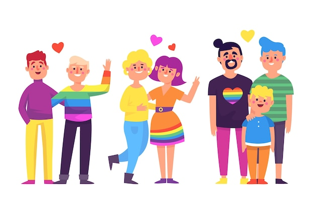 Parejas homosexuales celebrando el día del orgullo