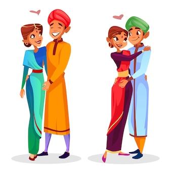 Parejas indias de dibujos animados abrazos que expresan amor, conjunto de unidad.