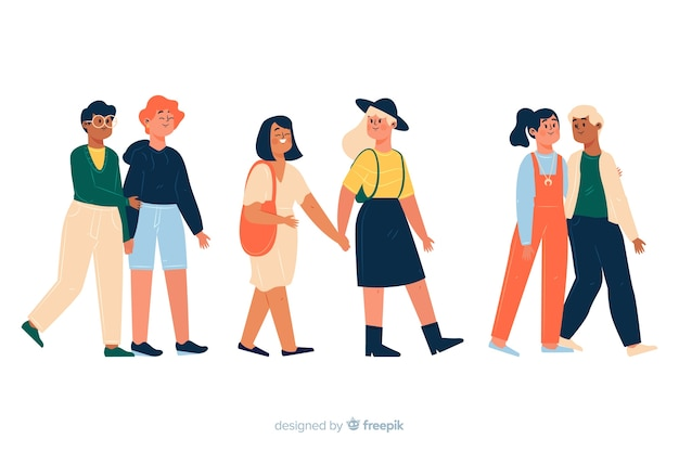 Parejas jóvenes caminando juntas