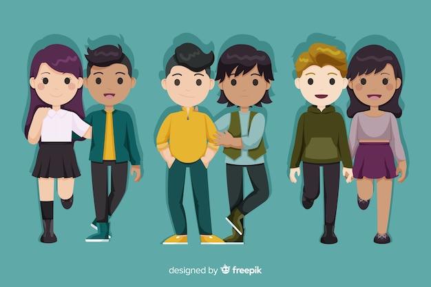 Parejas jóvenes caminando juntos dibujos animados