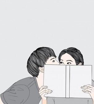 Las parejas jóvenes le dicen al amor susurrando al oído.