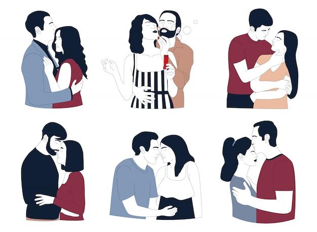 Parejas románticas aisladas sobre fondo blanco. amor y relacion.