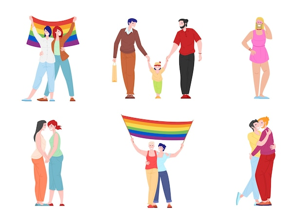Parejas románticas homosexuales y lesbianas aisladas sobre fondo blanco