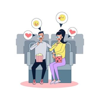 Los pares grandes aislados están viendo la película en 3d. ilustración vectorial dibujos animados planos amigos o pareja en la fiesta en casa, celebrando en el interior