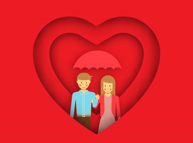 Los pares jovenes en amor debajo del paraguas en corazones adornaron el fondo, vector para la celebración feliz del día de tarjeta del día de san valentín.