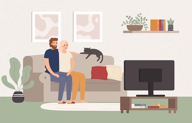 Los pares jovenes ven la televisión juntos. hombre y mujer felices sentados en el sofá y viendo el programa de televisión. ilustración de vector de noche de película