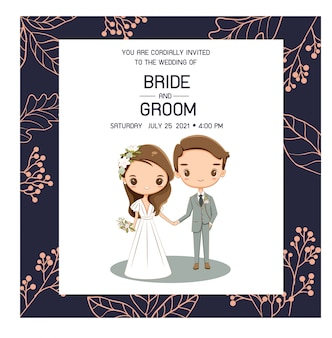 Pares lindos de la boda para la tarjeta de las invitaciones de boda