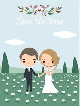 Pares lindos de la boda para la tarjeta de las invitaciones