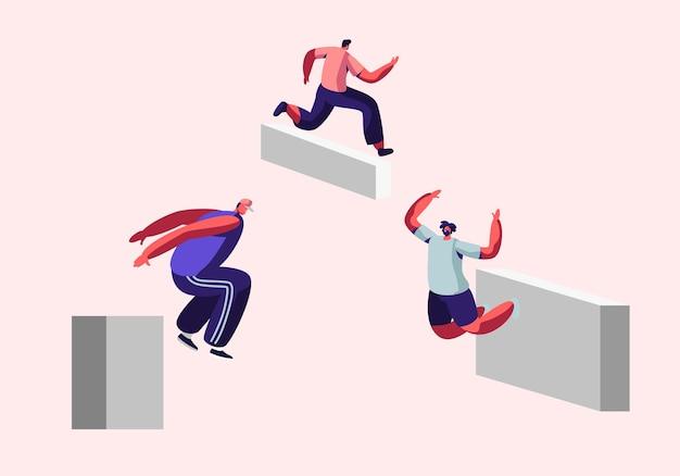 Parkour en la ciudad. hombres jóvenes corredores libres que entrenan al aire libre, saltan muros y barreras, deportes urbanos