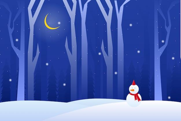 Paronama noche de invierno con paisaje de hombre de nieve
