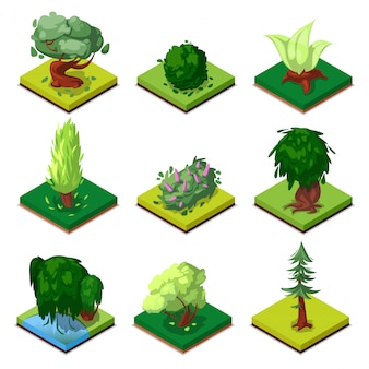 Parque 3d árboles decorativos isométrica conjunto 3d