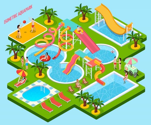 Parque acuático aquapark composición isométrica