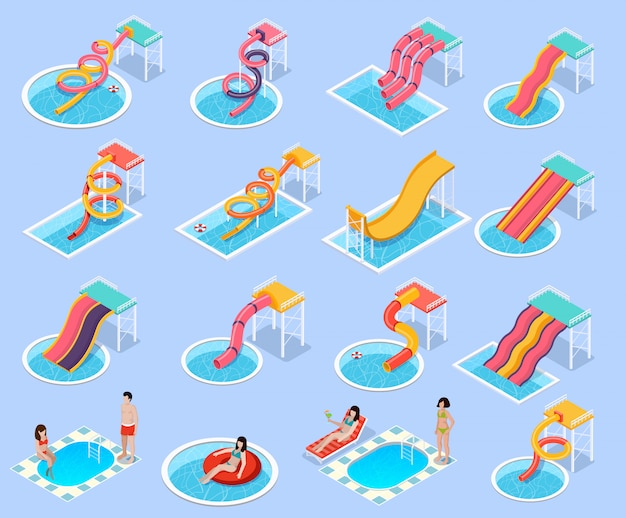 Parque acuático aquapark isometric icon set