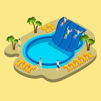 Parque acuático e ilustración de natación
