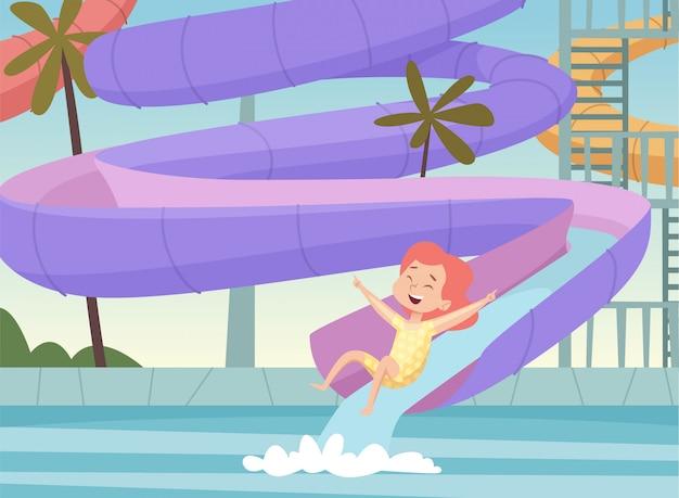 Parque acuático de fondo. niños saltando y nadando en la piscina urbana atracciones al aire libre diversión en el parque acuático imagen de dibujos animados