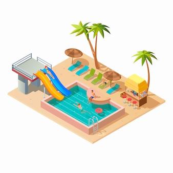 Parque acuático isométrico con toboganes y piscina.