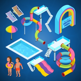 Parque acuático isométrico, varias atracciones en piscinas