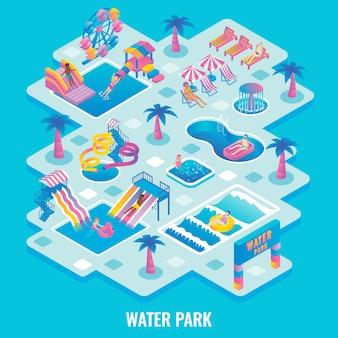Parque acuático plano isométrico