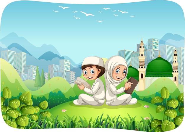 Parque al aire libre con personaje de dibujos animados de hermana y hermano musulmán