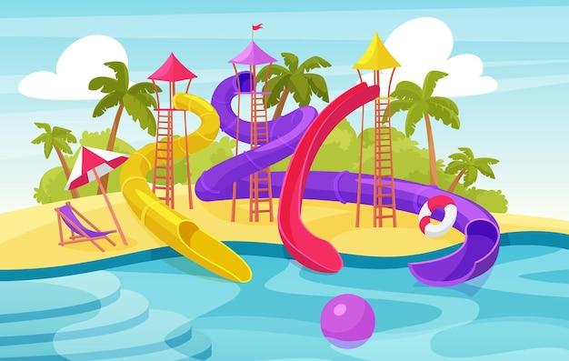 Parque de atracciones acuático, resort de verano de parque acuático de dibujos animados con toboganes y piscina