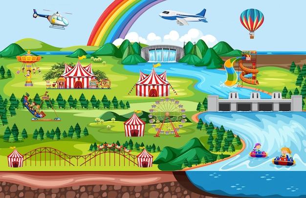 Parque de atracciones con arcoiris y paisaje temático de avión y helicóptero