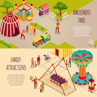 Parque de atracciones artistas de circo y atracciones familiares conjunto de pancartas isométricas horizontales ilustración aislada