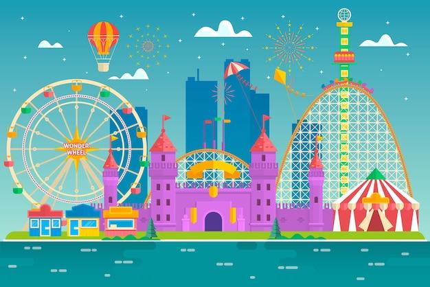 Parque de atracciones con atracción y montaña rusa, carpa con circo, carrusel o atracción redonda, feliz ronda, noria ilustración de estilo plano colorido vector