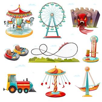 Parque de atracciones atracciones iconos planos establecidos
